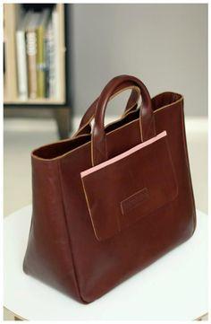 Brown leather bag by tashe tashe