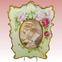 Large Antique French Limoges Picture Frame Hand Painted Roses Artist Signed
