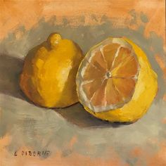 "Daily Paintworks - ""Lemon Halves"" - Original Fine Art for Sale - © Elizabeth Osborne"