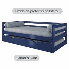 Sofá Cama com Cama Auxiliar Azul Madeira Maciça – Casatema - CasaTema