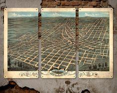 "Old Map of Atlanta, Georgia on METAL -  34"" x 23"" Triptych - FREE SHIPPING"
