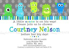 monster baby shower | Monster Printable Birthday or Baby Shower Invite - Dimple Prints Shop