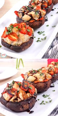 Caprese Chicken Stuffed Portobello Mushrooms are a delicious lunch or dinner! A large portobello mushroom topped with a caprese chicken inspired mixture. Portabella Mushroom Cap Recipe, Chicken And Mushroom Recipe Healthy, Grilled Portabella Mushrooms, Best Mushroom Recipe, Portobello Mushroom Recipes, Stuffed Mushroom Caps, Portobello Chicken Recipe, Large Stuffed Mushrooms, Healthy Recipe Videos
