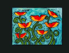 Posies with playful movement, acrylic on canvas.