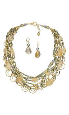 Multi-Strand Necklace and Earring Set with SWAROVSKI ELEMENTS, Citrine Gemstone Beads and Gold-Plated Brass Beads