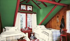 """Rustic paint palette with """"Vegas Green,"""" """"Fabulous Red"""" burgundy, & """"Sea Cove"""" cream colors from Valspar."""