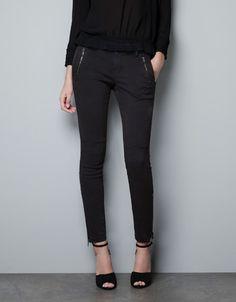 CARGO SKINNY PANTS WITH ZIPS - Trousers - Woman - ZARA