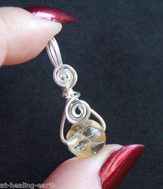 Citrine Gemstone Handcrafted Silver Pendant Positive Energy Money Crystal