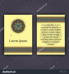 Invitation Card Design Template. Vintage Decorative Elements With Mandala, Delicate Floral Pattern. Islam, Arabic, Indian, Ottoman, Aztec Motifs Стоковая векторная иллюстрация 545036806 : Shutterstock