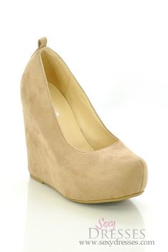 Taupe Faux Suede 'Alfa' Wedge Heel Shoes