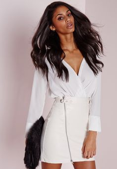 de0563d8d1034b Missguided - Faux Leather Buckle Zip A Line Skirt White Fur Gilet