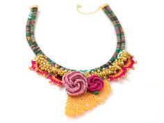 Ethnic Jewelry/ Crystal Beaded Statement Necklace/ by PinaraDesign