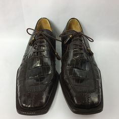 David Eden Brown Oxford Size 9 1/2 Genuine Ostrich Crocodile Lace Up #DavidEden #Oxfords