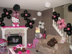 Hello Kitty birthday party decorations....could be Syrenity's next birthday party decorations