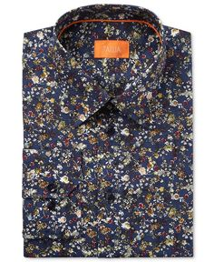 Liven your warm weather wardrobe with the jewel-tone accented winding floral print of this fitted dress shirt from Tallia. | Cotton | Machine washable | Imported | A fitted shirt cuts close to the bod