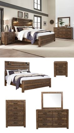 The Dakota Bedroom collection incorporates a straightforward style with a distressed rustic amber finish and hand-applied saw marks for a reclaimed appearance. Industrial touches include bronze finished bar hardware, decorative bolts, and sconces on the headboard. The gently worn appearance of the woodwork compliments the built-in sconces to generate a calm, nautical feel for your place of relaxation. #shopgahs #bedroom #masterbedroom #guestroom #bedroomfurniture #builtinlighting #rusticstyle