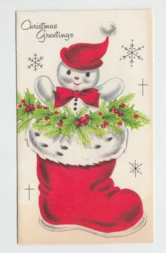 Vintage Snowman in Christmas Stocking Greeting Card