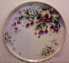 Fabulous T & V Limoges Charger Plaque Tray Hand Painted Blackberries