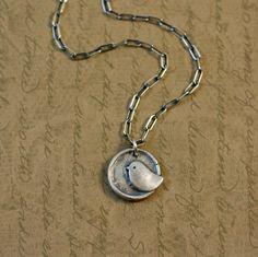 Precious Metal Clay, Fine Silver, Sweet Bird Charm Pendant. $25.00, via Etsy.