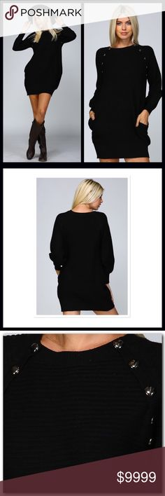 COMING SOON⭐️ Knit Crochet Sweater Dress Knit crochet sweater dress, perfect for those Holiday parties! ⭐️Ribbed Vertically & Horizontally ⭐️Metallic Bead Embellishment Along Shoulder Line ⭐️Raglan Style Puffy Sleeves ⭐️Super Soft & Great Stretch ⭐️Pocket