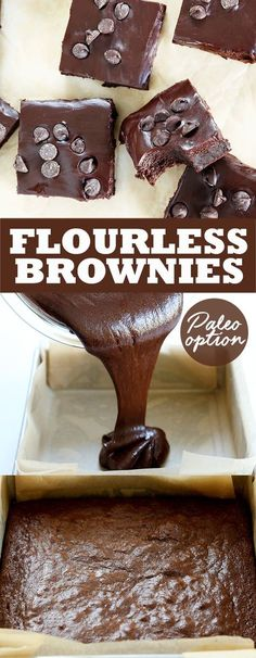 Fudgy Flourless Brownies - Great gluten free recipes for every occasion. These naturally gluten free flourless brownies are rich and fudgy, with a Paleo option, too. Made with melted chocolate and cocoa powder, and topped with a simple chocolate ganache. Desserts Keto, Gluten Free Sweets, Paleo Dessert, Gluten Free Baking, Healthy Sweets, Dairy Free Recipes, Dessert Recipes, Keto Recipes, Dessert Ideas