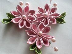 Как сделать из узкой атласной ленты красивый цветок. - YouTube