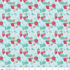 FABRIC Shabby Strawberry Strawberries and by DorothyPrudieFabrics
