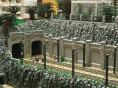 Lego Train Tracks, Lego City Train, Lego Trains, Lego Mountain, Lego Winter Village, Train Tunnel, Lego Boards, Lego Modular, Lego Castle
