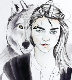Arya Stark of Game of Thrones. I illustrated the Stark children with their direwolf familiars. These are high quality prints of my ink wash, ink, and watercolor originals. Perfect for a fan. I print on 90lb glossy cardstock paper, sized from 5 x 7 inches to 11 x 14 inches. See size choices to the right. Winter is Here