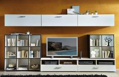 Linea by Germania Modern Wall Storage System in White and Grey