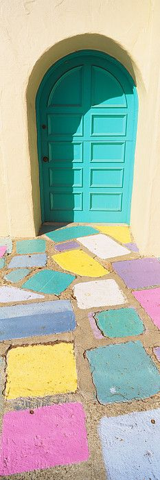 Multi-colored tiles in front of a door, Balboa Park, San Diego, California, USA