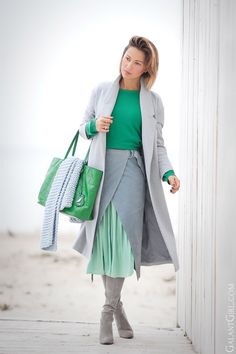 green and light blue outfit   wrap skirt   Diane Von Furstenberg bag   asos suede skirt   stuart weitzman boots   street style   winter outfits  