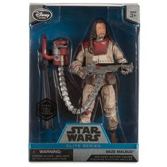 Star Wars Baze Malbus Elite Series Die Cast Action Figure - 6 1/2 Inch - Rogue One: A Star Wars Story. Genuine, Original, Authentic Disney Store. Fully poseable. Includes Baze Malbus figure, weapon, and standing base. Meticulously crafted die cast action figure. Collect all the Star Wars Saga Elite Series Die Cast Action Figures, each sold separately.