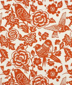 Curtains! Now to find someone who sews.  Duralee Aviary Tangerine Fabric - $20.75 | onlinefabricstore.net