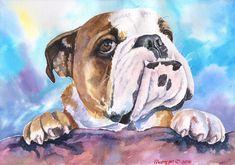 Impresión de bulldog Inglés de la pintura Original arte