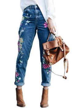 89d0cc422913 Cheap high waist jeans, Buy Quality embroidery jeans directly from China jeans  female Suppliers: YNZZU Plus size flower embroidery jeans female high waist  ...