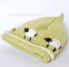 Little Pickle Knits collection by Linda Whaley. An adorable little lamb pixie beanie hat. The little lambs run all around the hat. Workedflat on single pointed needles for easy intarsia knitting.Thebeanie shown isknittedwith Bergere De France Caline 4ply on 3.25mm (US3) needles. Choose this yarn, or another 4 Ply yarn. Debbie Bliss Baby Cashmerino on 3.25mm (US3) needles can also be used with this pattern.Instructions to knit the following sizes:6-8 lbs,0-3 months,3-6 months,6-12…