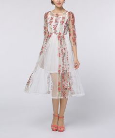 Look what I found on #zulily! White Embroidered Mesh-Layer A-Line Dress #zulilyfinds