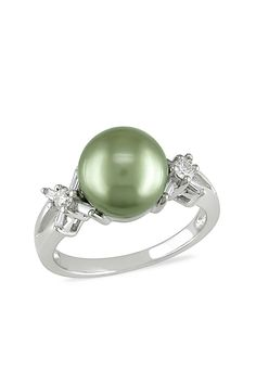 d66ee80a82ac01 Delmar | 14K White Gold Diamond & Green Tahitian Pearl Ring | HauteLook