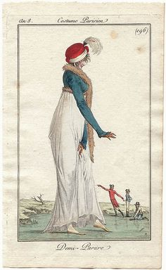 Stepping gingerly onto a frozen lake, whilst wearing fashionable dress. The men behind are wearing ice skates. Costume parisien an 8, 1799-1800