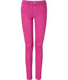 J BRAND JEANS Magenta Mid Rise Super Skinny Jeans