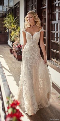 galia lahav couture fall 2018 bridal cap sleeves sweetheart neckline full embellishment elegant romantic soft a line wedding dress low open back sweep train (17) mv -- Galia Lahav Couture Fall 2018 Wedding Dresses #weddingdresses