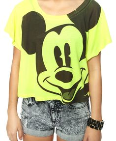 Forever 21 Graphic Tees   Forever 21 Neon Mickey Mouse Graphic Tee   Hair/Nails/Clothes