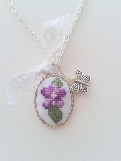 Romantic Violet hand embroidered pendant necklace. $22.00, via Etsy.