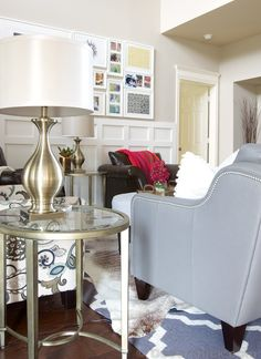 Our gold horton end table looks stunning in this living room makeover!
