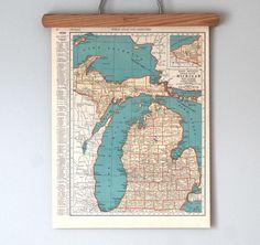 Vintage Michigan map. (Great lakes, good times.)