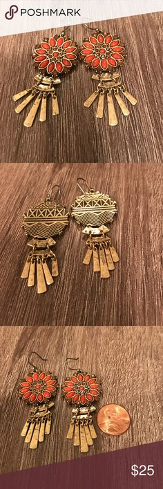 NWOT Lucky Brand Earrings Gold and orange earrings never worn! They have a beautiful design in the back and are very unique! Lucky Brand Jewelry Earrings