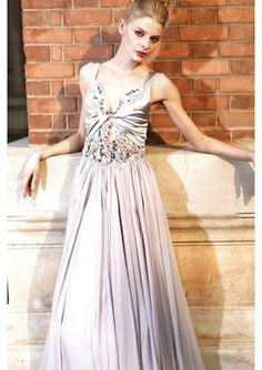 Sheath Pleated Floor-length Dress with Gathered Floral Bodice and Sheer Back