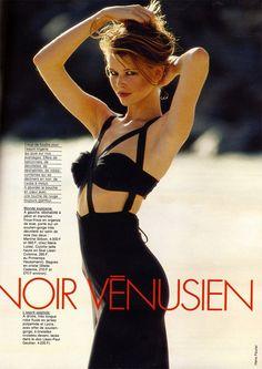 """Noir Vénusien"": Claudia Schiffer in black @jpgaultier strappy jersey maxi dress for @magazineellefr May 1992 | Photo by Hans Feurer | #Elle #ClaudiaSchiffer #hansfeurer"