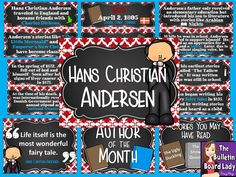 Hans Christian Andersen is the Author of the Month!  This colorful bulletin board set comes with book review sheets and a color sheet that will work for several grade levels.  Use this set as an author study, book club or as classroom decorations.